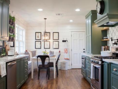 fixerupper green kitchen